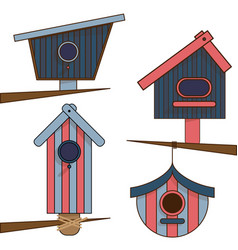 wooden birdhouses separate on a white background vector image
