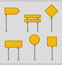 Yellow road signs blank traffic road empty vector