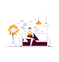 young man at home sitting in sofa and working on vector image