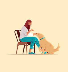 young woman spending time with dog female owner vector image