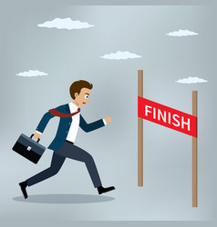 businessman running to the finish line vector image