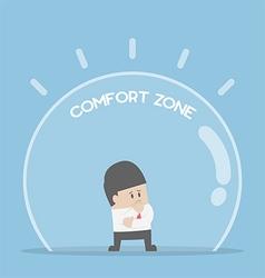 Businessman standing in comfort zone vector