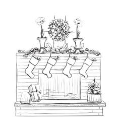 fireplace with socks and Christmas vector image