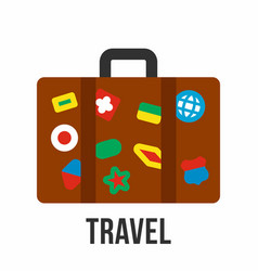 Suitcase with stickers travel symbol vector