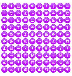 100 view icons set purple vector image