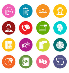 call center symbols icons many colors set vector image vector image
