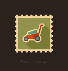 lawn mowers retro flat stamp garden vector image