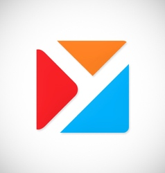 letter y square color logo vector image