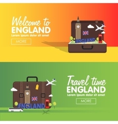 London England travel destinations icon set Info vector image vector image
