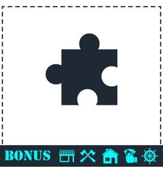 Puzzle piece icon flat vector