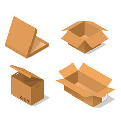 cardboard boxes set isometric view vector image