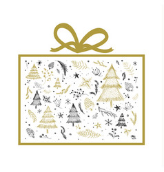 christmas gift box design on white background vector image vector image