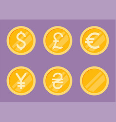 coins icons set flat vector image vector image