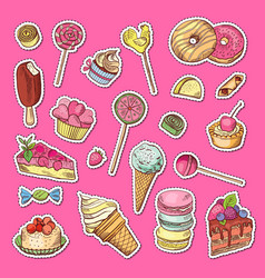 hand drawn colored sweets stickers vector image