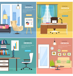 interior design of office rooms with furniture vector image