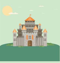 magical fabulous cartoon castle flat vector image