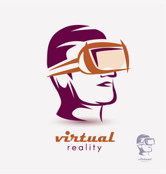 mans head in vr glasses icon stylized logo vector image