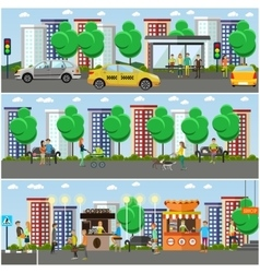 set of street traffic concept design vector image