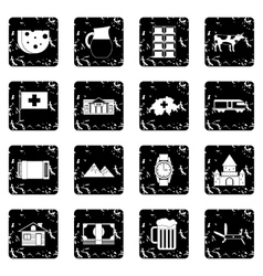 Switzerland set icons grunge style vector image