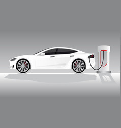 white electric car with charging station vector image vector image