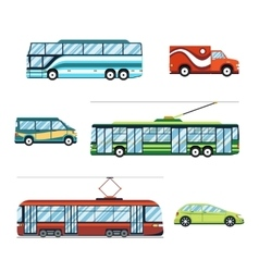 City transport flat icons vector image