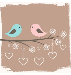Couple of cute birds vector image vector image