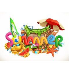 summer beach summer holiday set 3d icon vector image vector image
