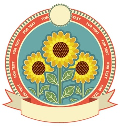Sunflowers symbol background for text isolated on vector image vector image
