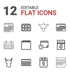 12 calendar icons vector