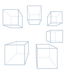 3d line cubes and parallelepipeds set outline vector image