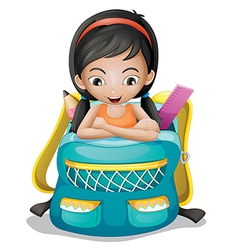 A girl inside a school bag vector image