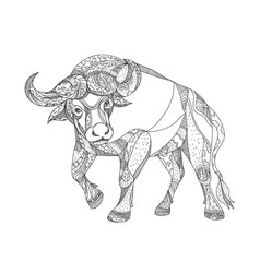 African buffalo charging doodle vector