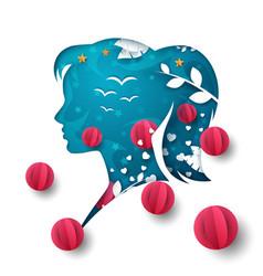 air balloon girl head cartoon air vector image