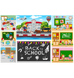 back to school theme with kids in classrooms vector image