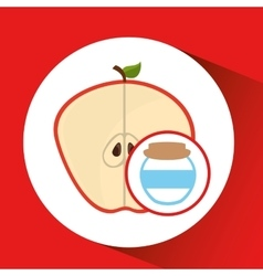 Big jar jam apple icon design vector