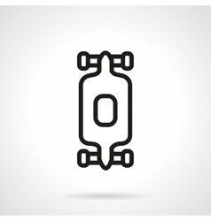 Black simple line longboard icon vector
