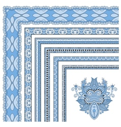 blue colour floral vintage frame design vector image
