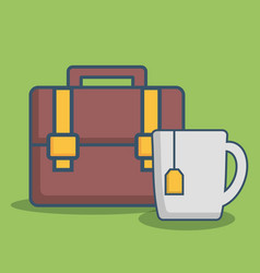 Briefcase and coffee mug icon vector