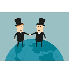 Businessman and industrialist shaking hands vector image vector image