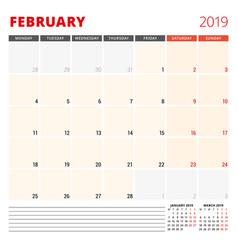 calendar planner template for february 2019 week vector image