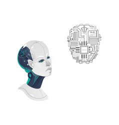 cartoon man cyborg head microchip icon vector image