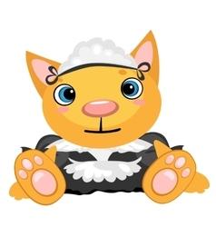 Cartoon pet in uniform governess vector