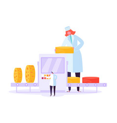 cheese packaging production factory line milk food vector image