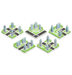 city houses isometric composition vector image