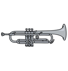 Classic silver trumpet vector