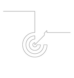 Continuous one line arrow in center target vector