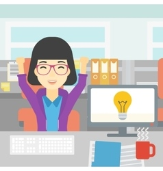 Creative excited woman having business idea vector image