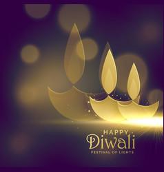 Creative golden diwali diya with glowing light vector
