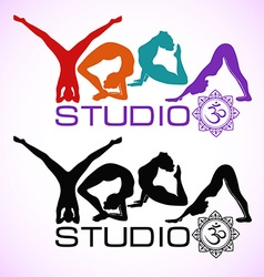 Creative logo of yoga studio with womens vector image
