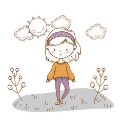 Cute girl cartoon stylish outfit nature sunny vector